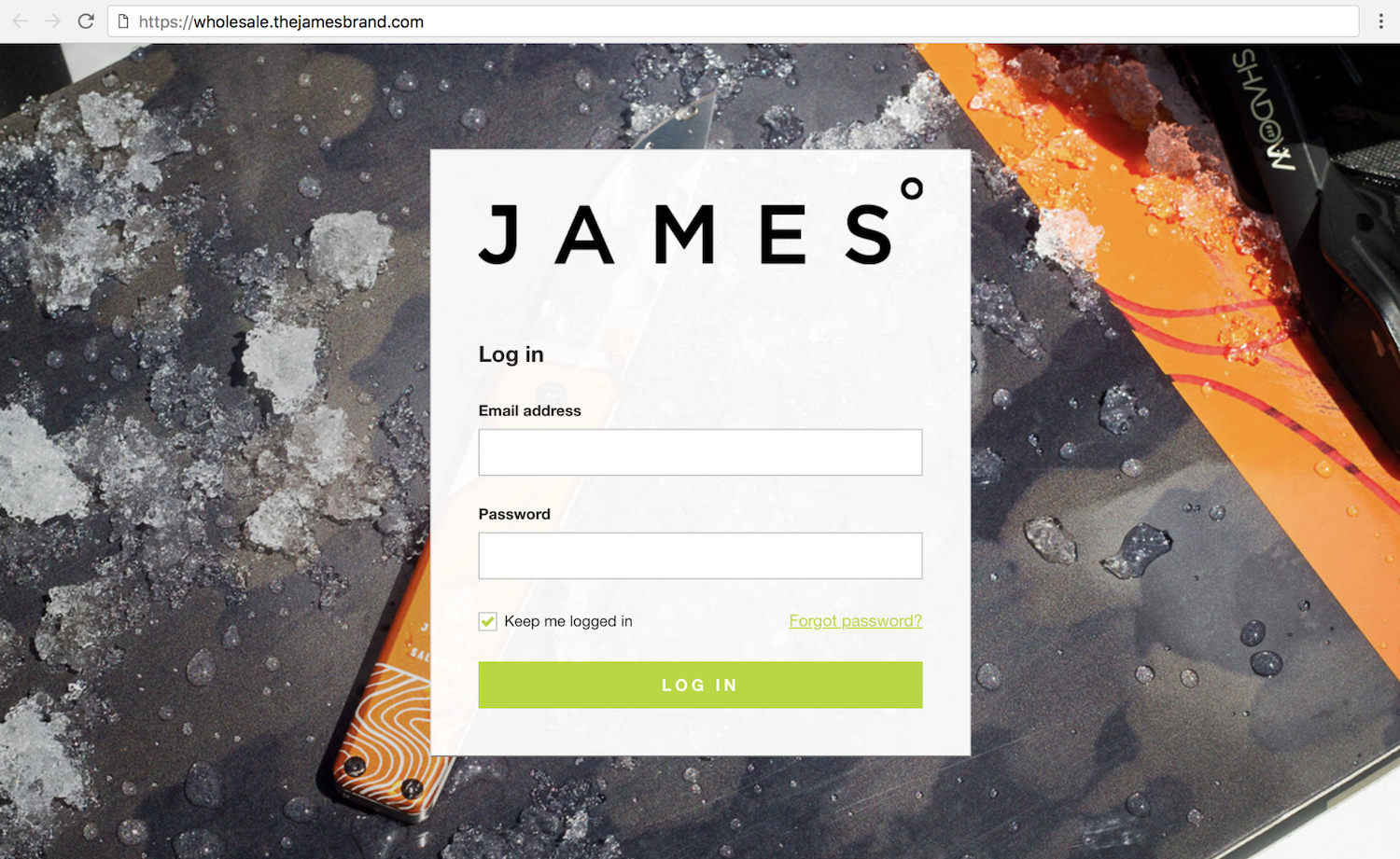 The James Brand's wholesale ecommerce storefront with branded URL