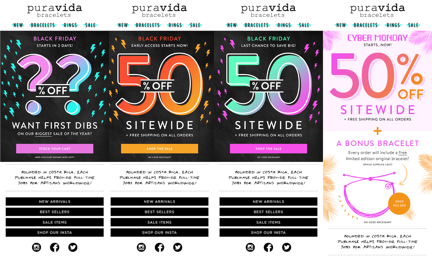 Pura Vida holiday ecommerce emails