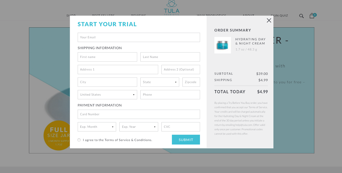 TULA's ecommerce subscription begins with a Try Before You Buy campaign
