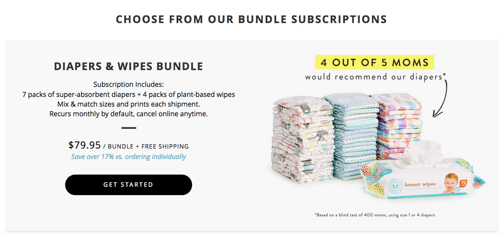 The Honest Company bundling its direct to consumer options
