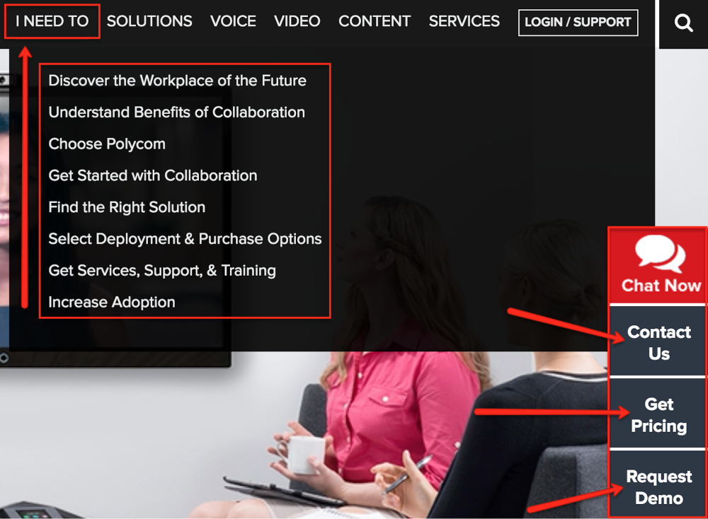"Polycom's B2B example starts with what their audience ""needs"""
