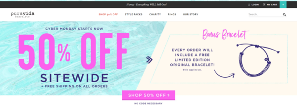 Pura Vida Bracelets' 50% off ecommerce checkout customization during BFCM