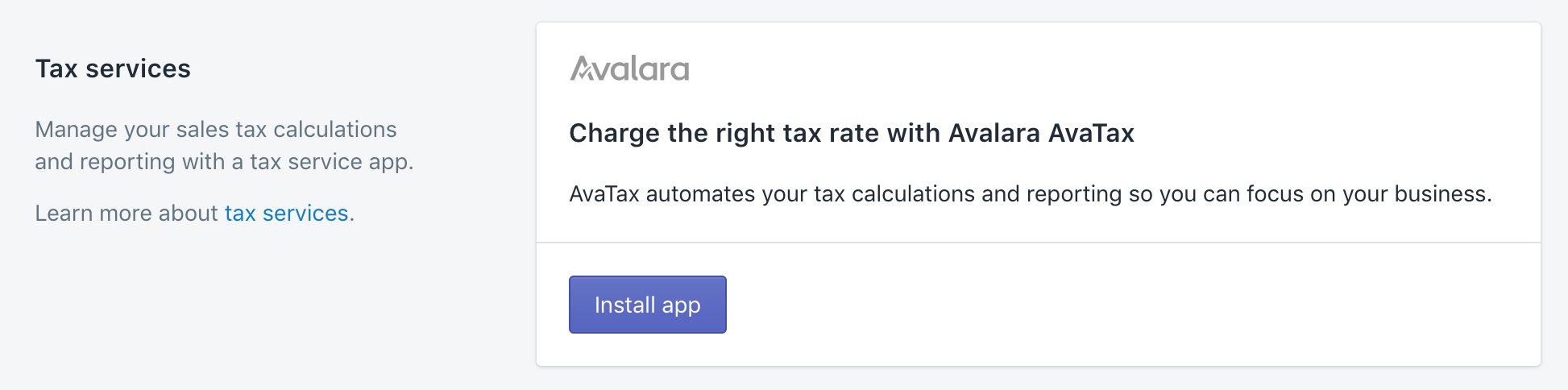 Shopify admin: settings to taxes