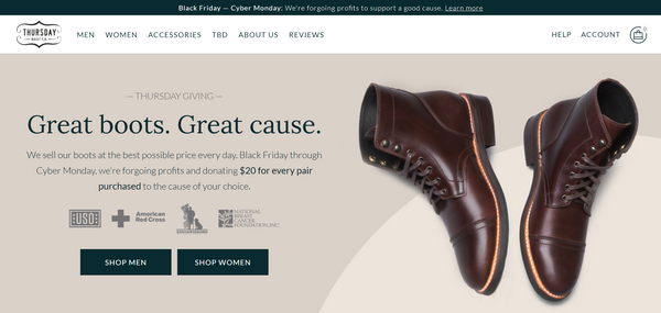 Instead of coupons for a sale, Thursday Boot Company partnered with charities for Black Friday ecommerce