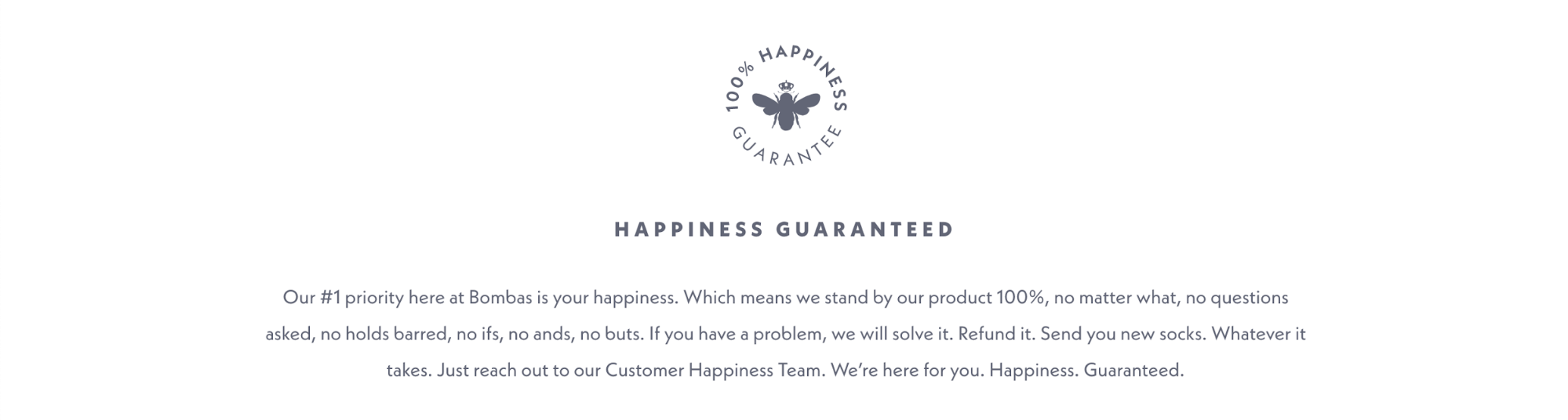 Bombas' Happiness Guaranteed page shapes their ecommerce customer service