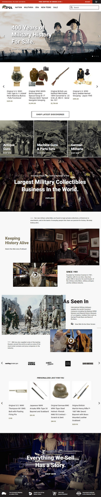 International Military Antiques' redesigned homepage on Shopify Pluse