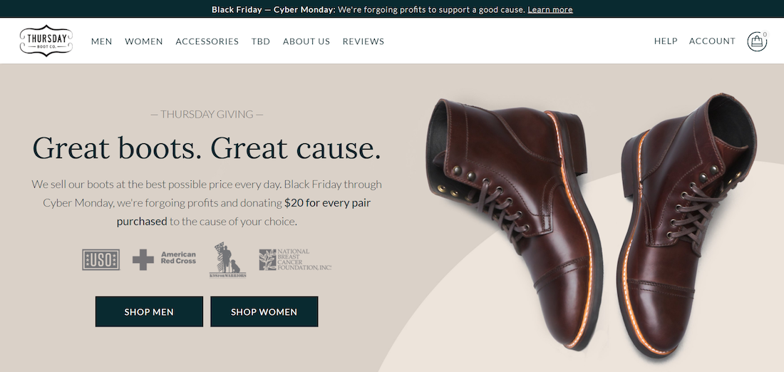 Thursday Boot makes giving back the center of the holiday ecommerce strategy