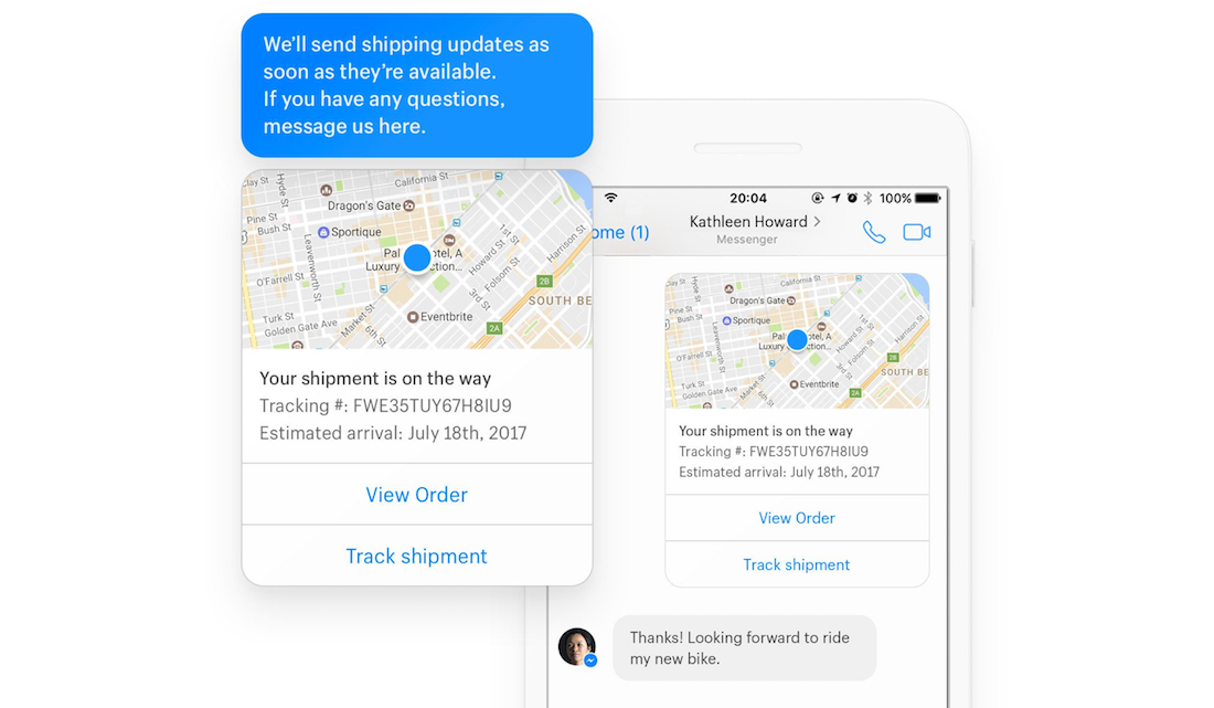Facebook Messenger for tracking shipping and ecommerce returns