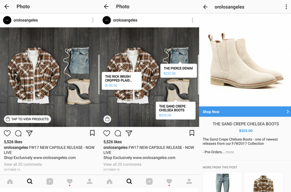Shopping on Instagram example