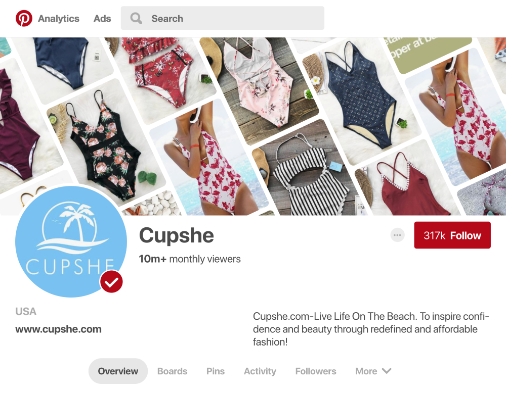 Cupshe creates and curates multiple boards that garner over 10 million monthly viewers on Pinterest