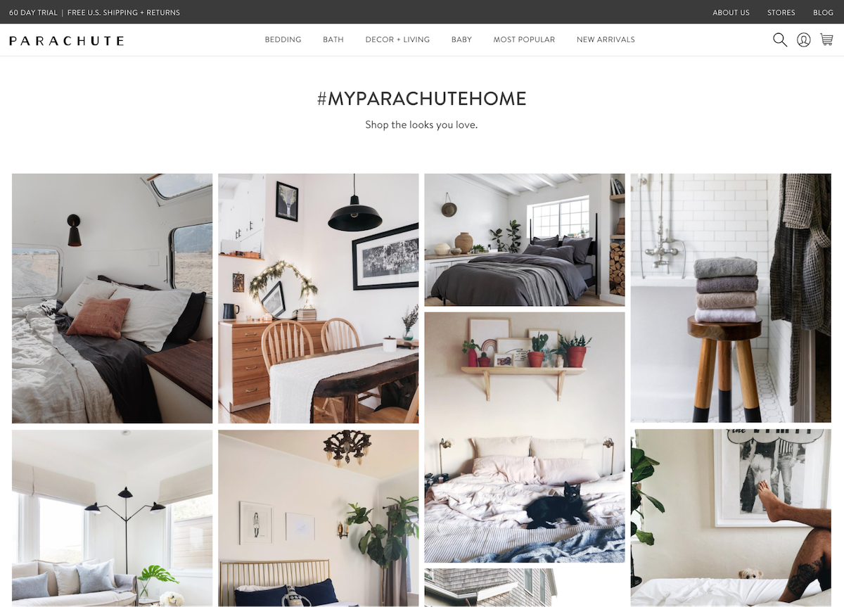 "Parachute Home's ""Instagram Shop"""