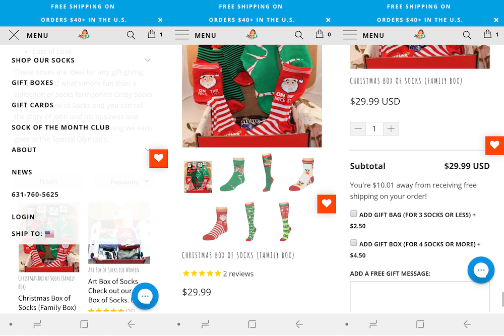 Gift wrapping for ecommerce: JCS mobile example