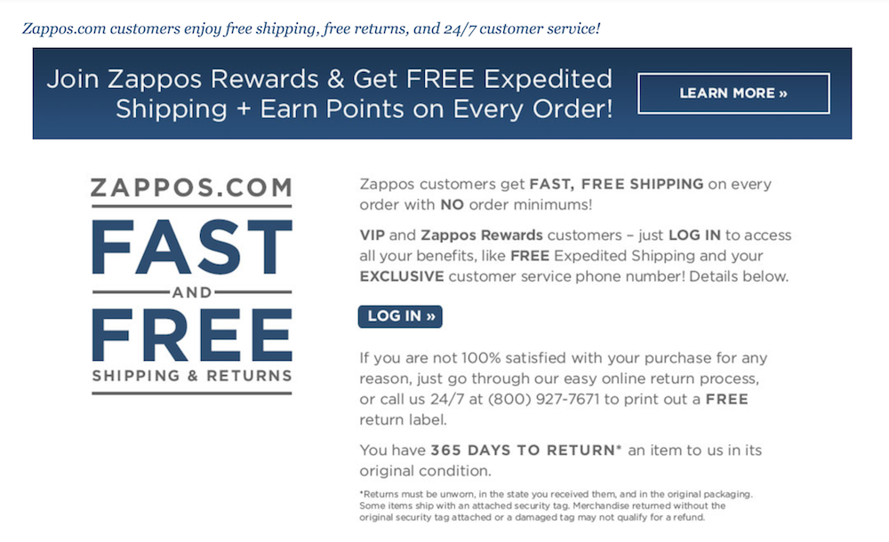 Zappos ecommerce return policy