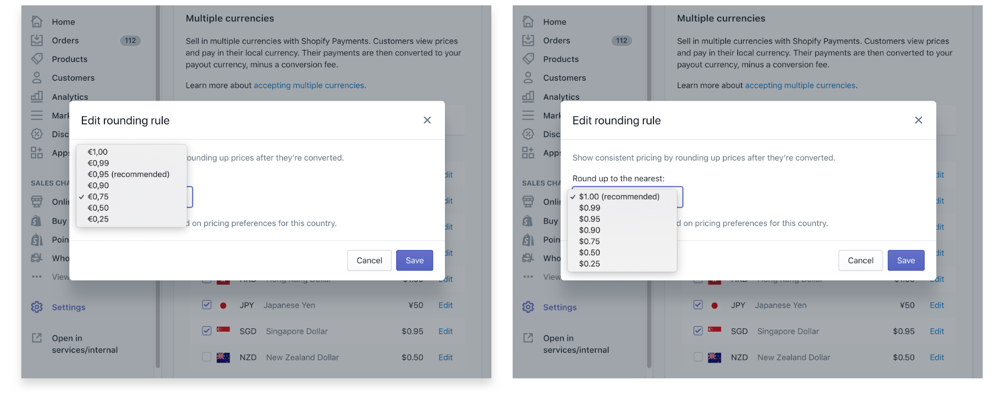 Editing rounding rules for Shopify Payments multi-currency