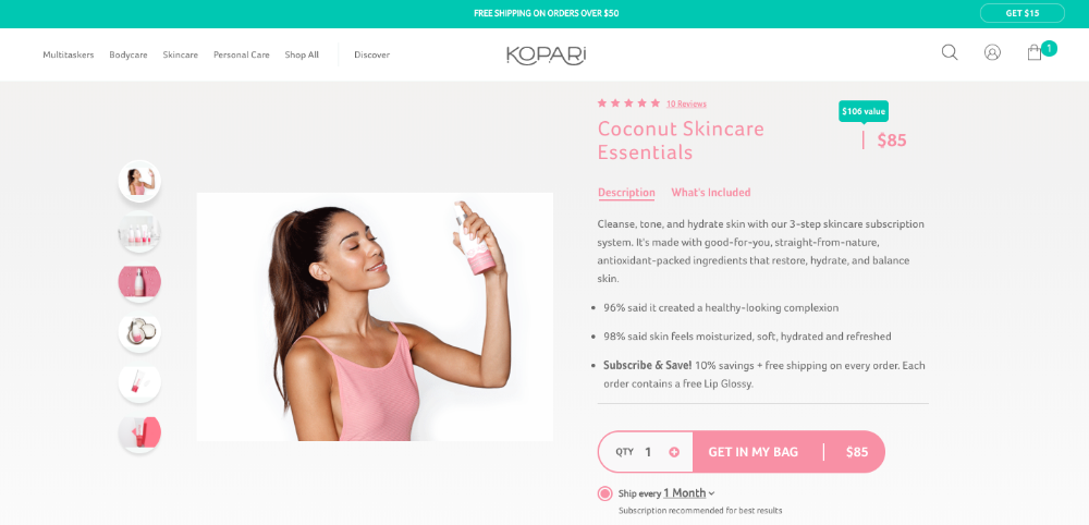 Kopari's ecommerce subscription offering in the beauty industry