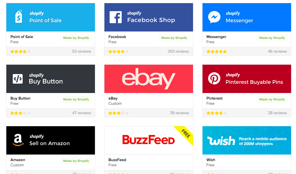 More than 20 sales channels wait for seamless, native integration with Shopify Plus.
