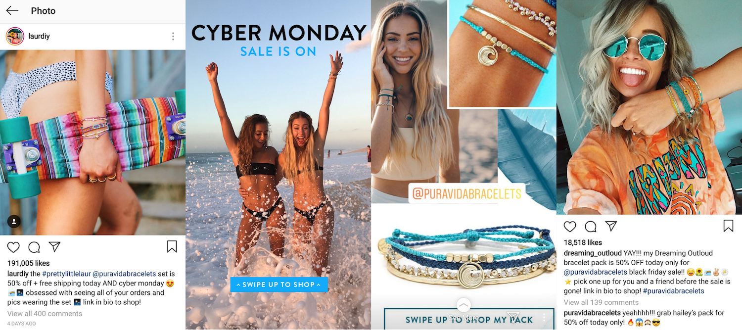 Pura Vida's Black Friday Cyber Monday influencer campaigns