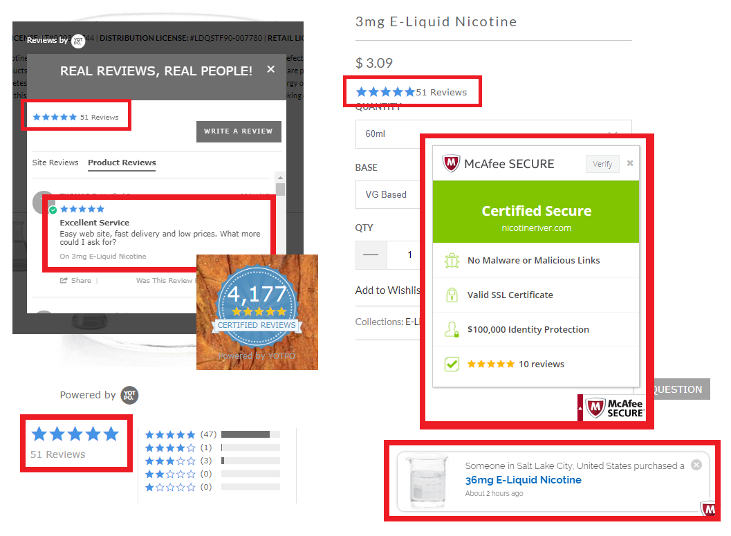 Nicotine River uses trust as the centerpiece of the B2B ecommerce example
