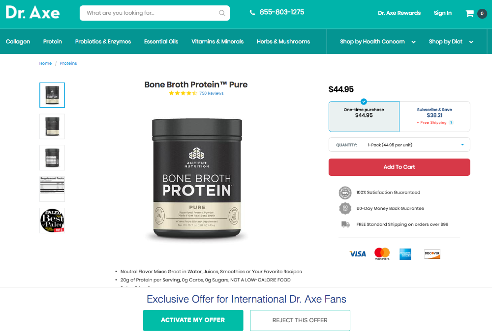 Dr. Axe's ecommerce subscription offering in the health industry