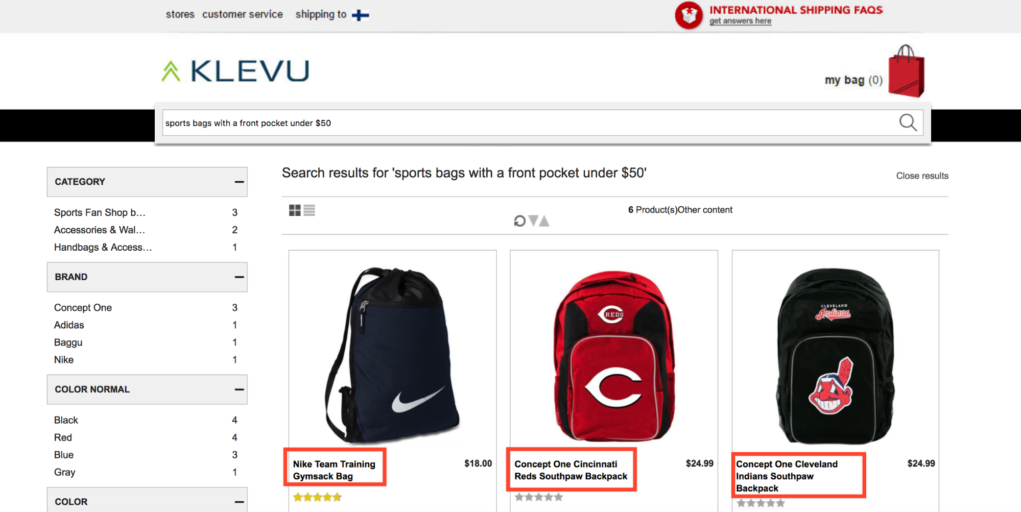 Klevu's ecommerce search solution distinguishes between different color searches