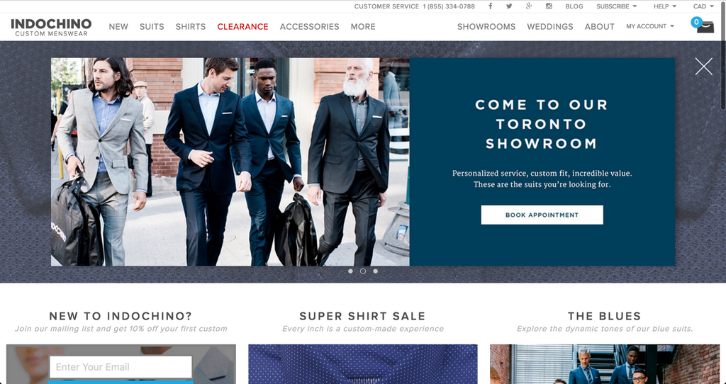 Indochino doesn't need or feature a search bar.