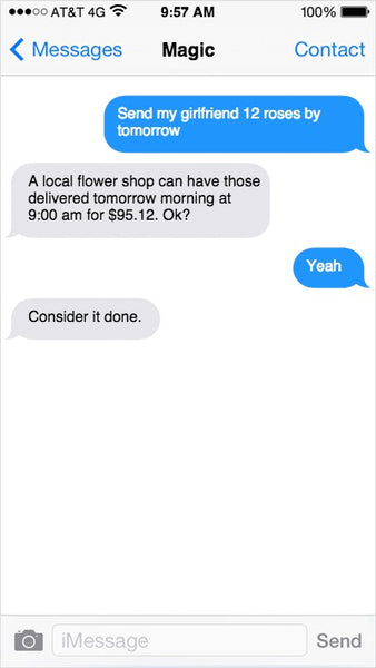 Getting flowers delivered using a text based assistant