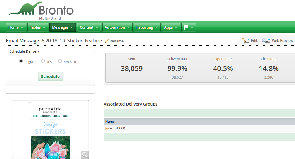 Dashboard of Bronto email marketing ecommerce tool