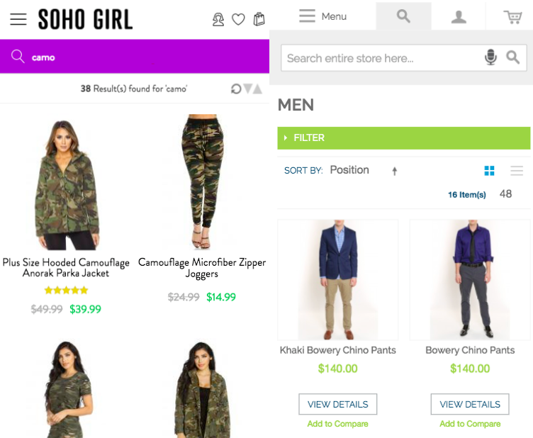 Ecommerce site search on mobile