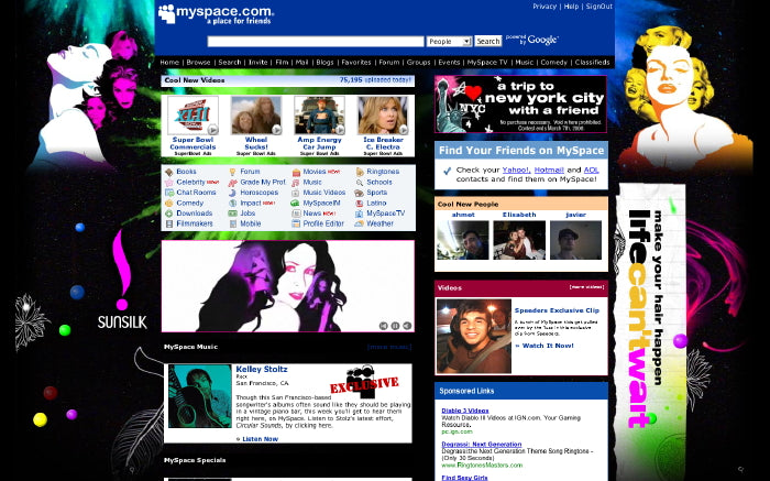 Myspace homepage takeover