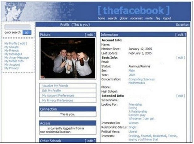 Early Facebook profile page