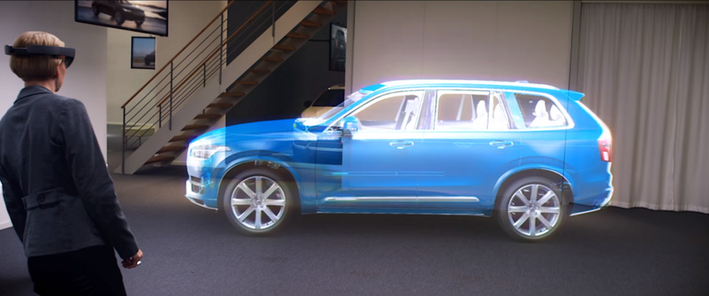 Volvo car augmented into a showroom