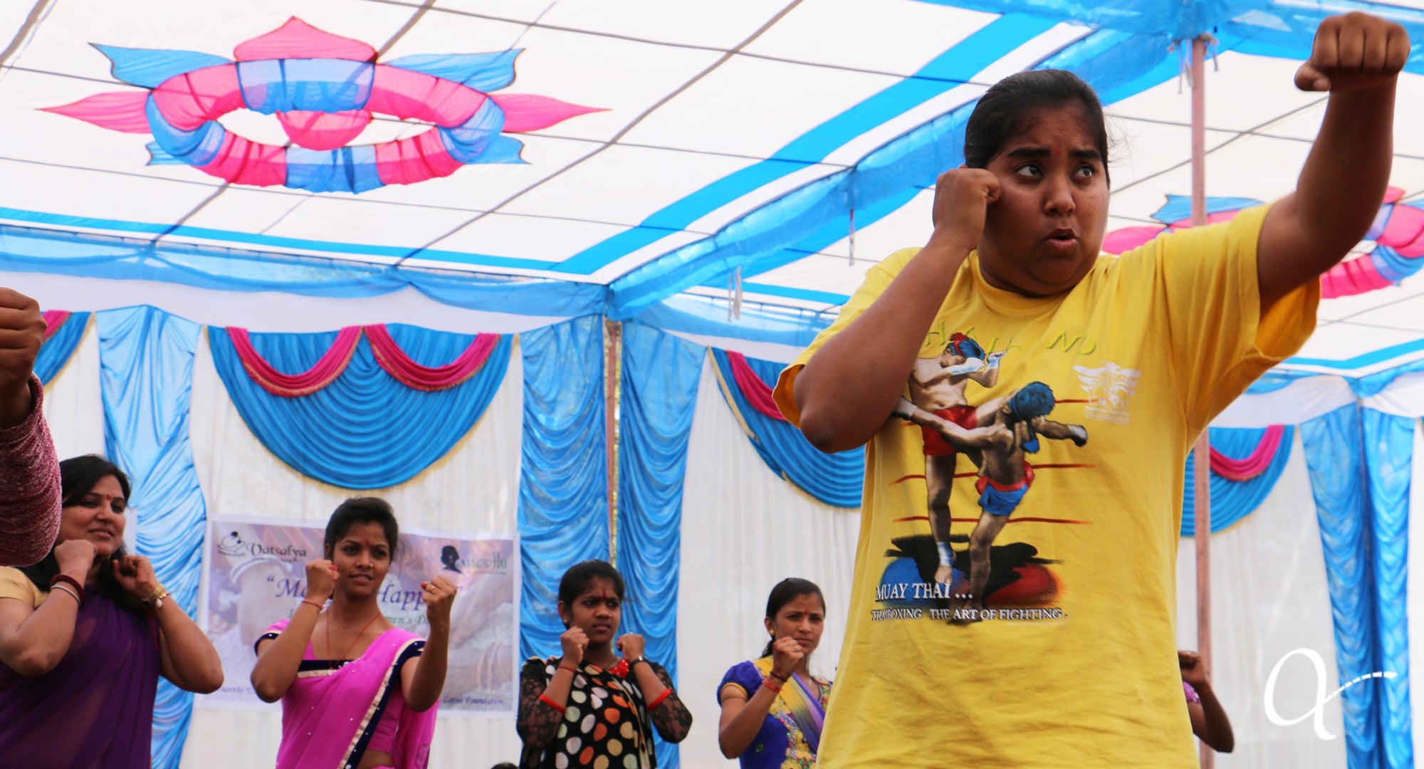 Richa Gaur leads a self-defense workshop with Anchal artisans