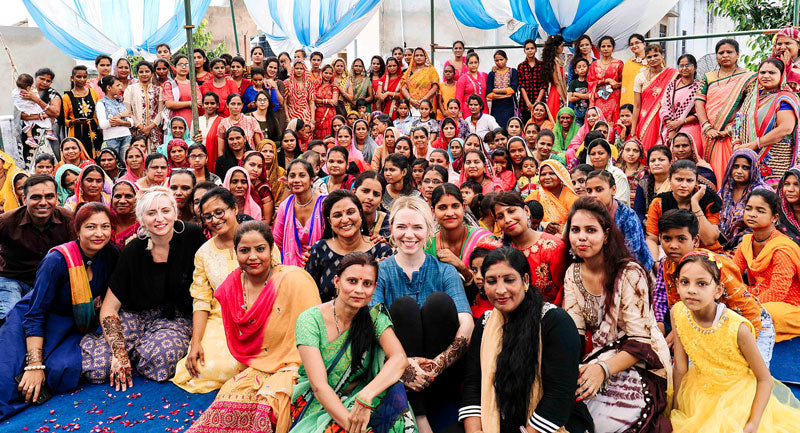 Anchal team photo with 150 female textile artisans in Ajmer, India