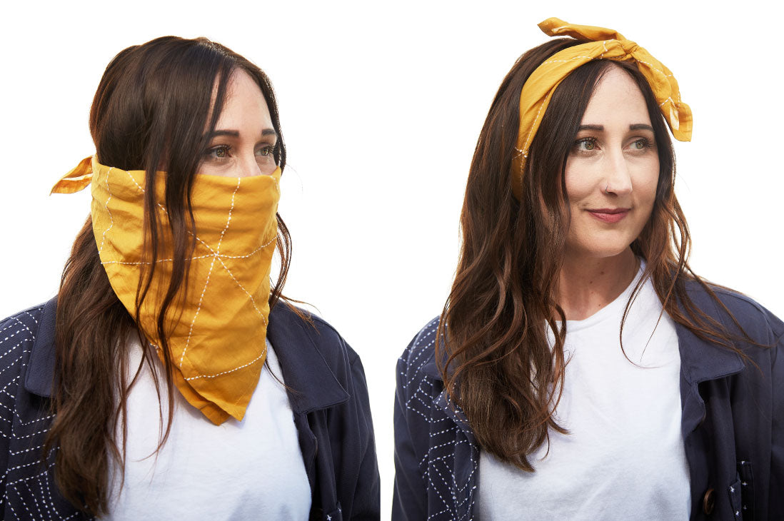 Anchal Mustard Bandana tied for a face mask and headband