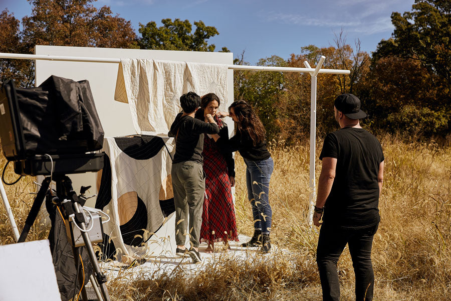 Behind the scenes styling at Anchal Fashion Photoshoot