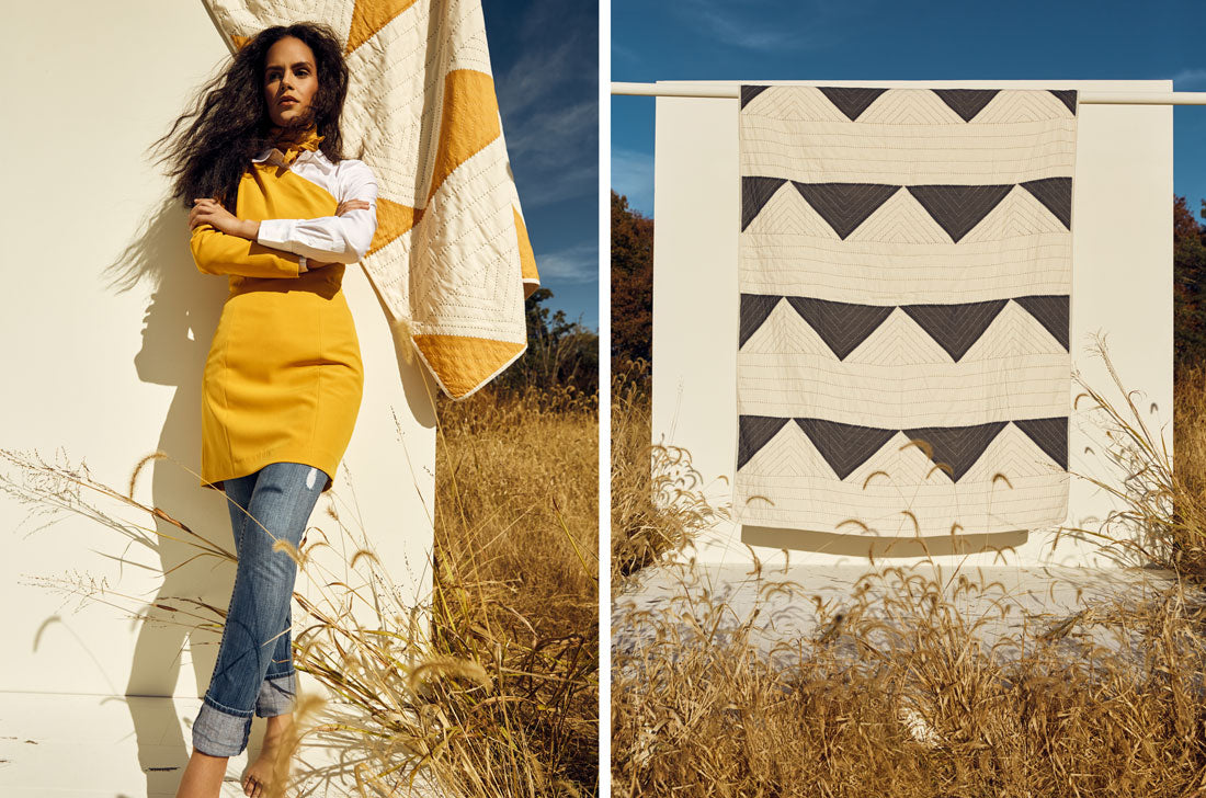 Anchal Triangle Quilts hanging in landscape with model wearing mustard bandana