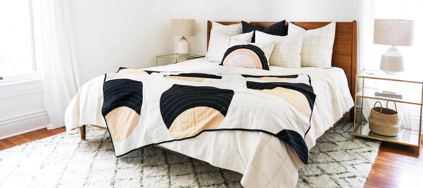 Anchal Project's Collection of Sustainable Home Decor Featuring Contemporary Quilt Throws and Pillows