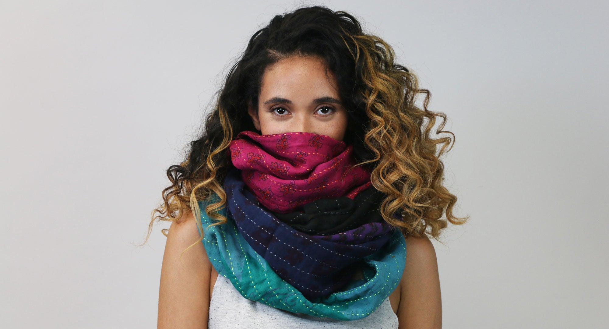 Layering overdyed Infinity Scarves | Anchal Project