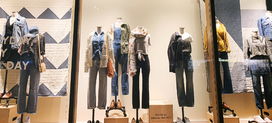 Madewell Window Display with Anchal Quilts