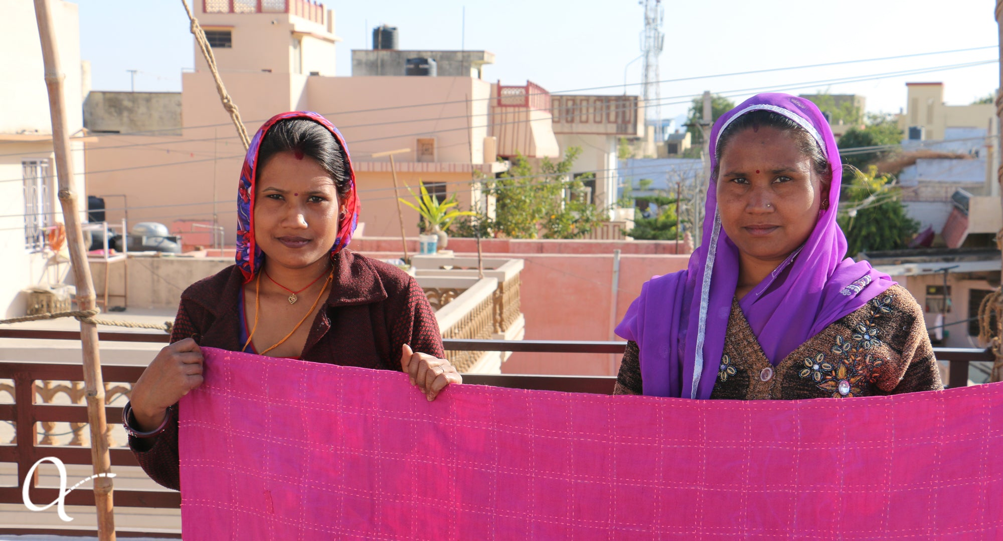 Anchal artisans with final quilt