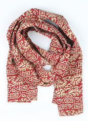 red and cream kantha Straight Scarf | Anchal  Project