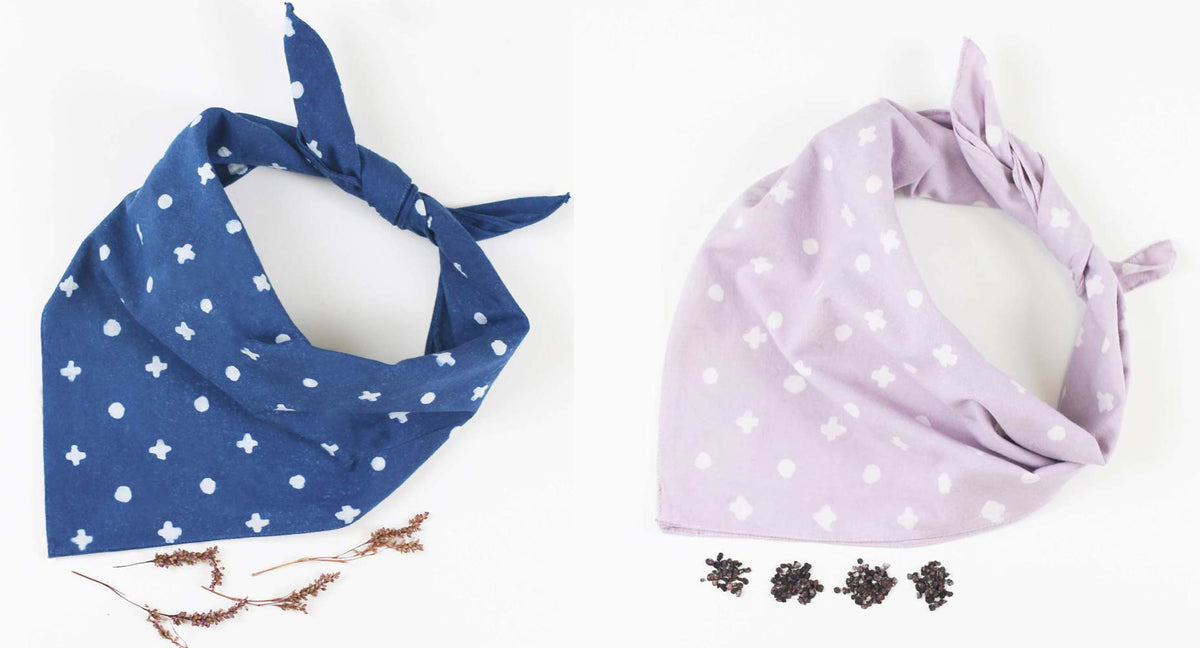 naturally dyed cotton bandanas
