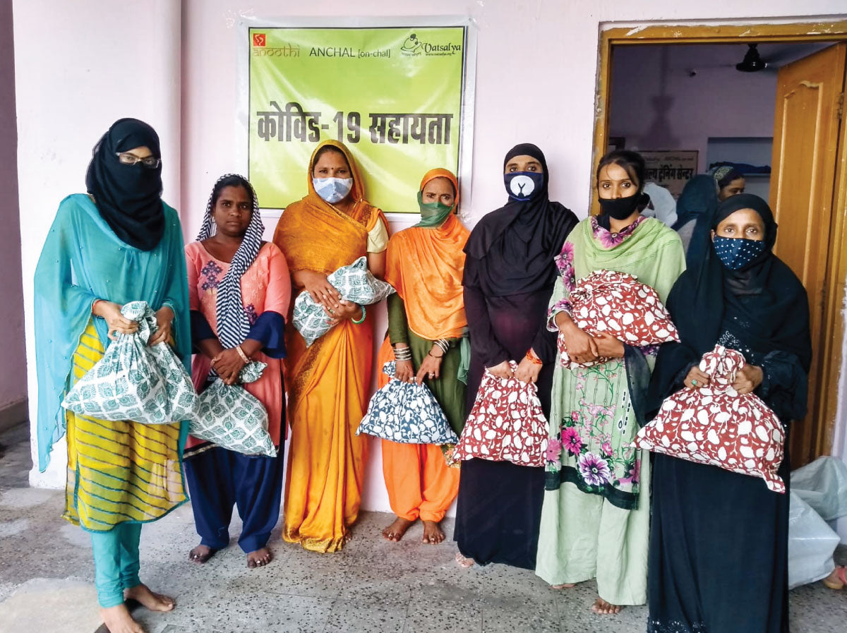 Anchal artisans receiving grocery kits for COVID-19 relief