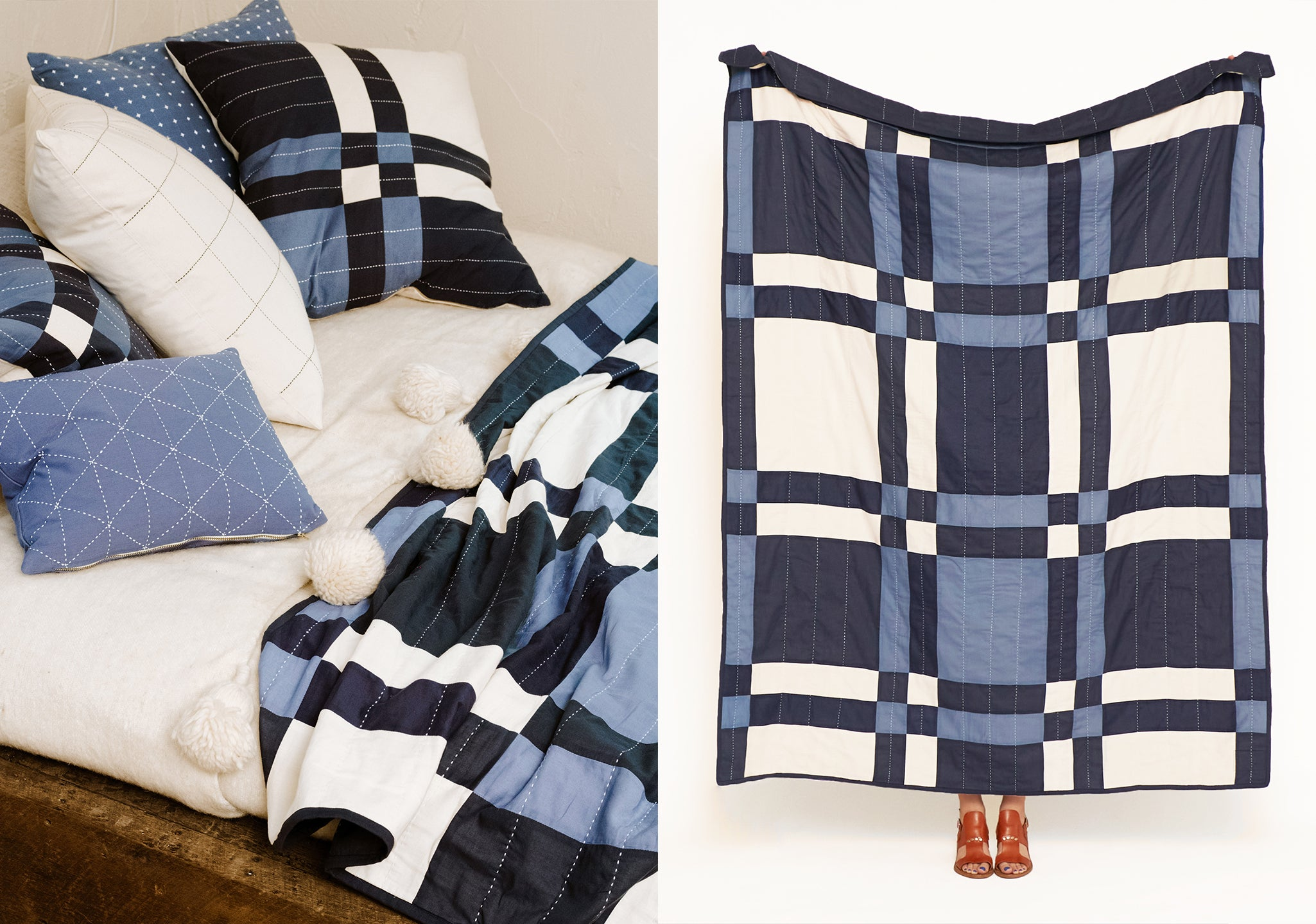 Patchwork Plaid Quilt Throw in navy blue by Anchal Project