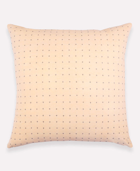 "22"" Embroidered Cross-Stitch Toss Pillow - Blush 