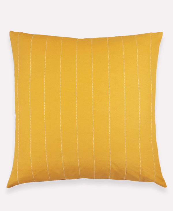 organic cotton mustard yellow throw pillow with line stitch embroidery
