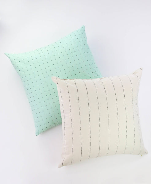"22"" Embroidered Cross-Stitch Toss Pillow - Mint 