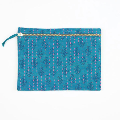 Small Overdyed Kantha Pouch - Teal