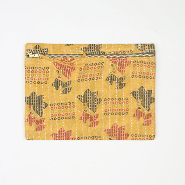 Small Kantha Pouch - Yellow and Grey | Anchal Project