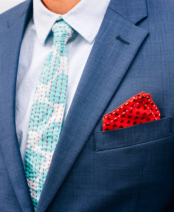 casual cotton tie and cotton pocket square inspiration